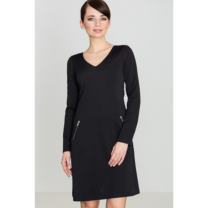 ab53a9d3de93 Dámske čierne áčkové šaty s vreckami na zips K078