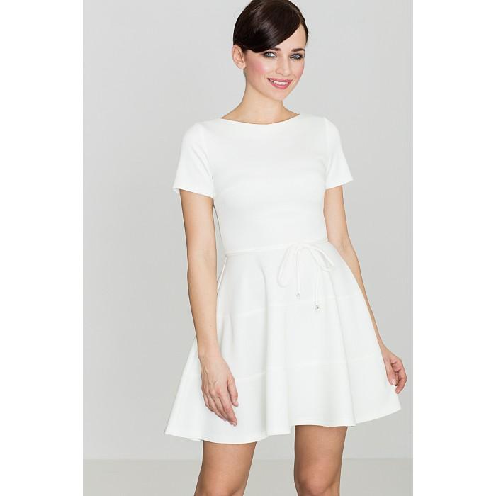 Dámske biele šaty s volánovou sukňou K090 34ac1727da8