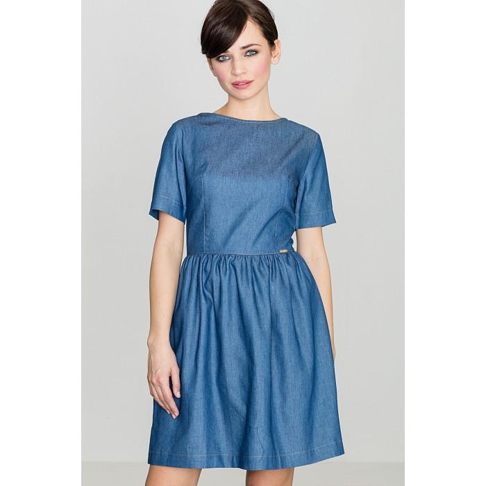 4ae43a874 Dámske tmavomodré riflové šaty s krátkym rukávom K164