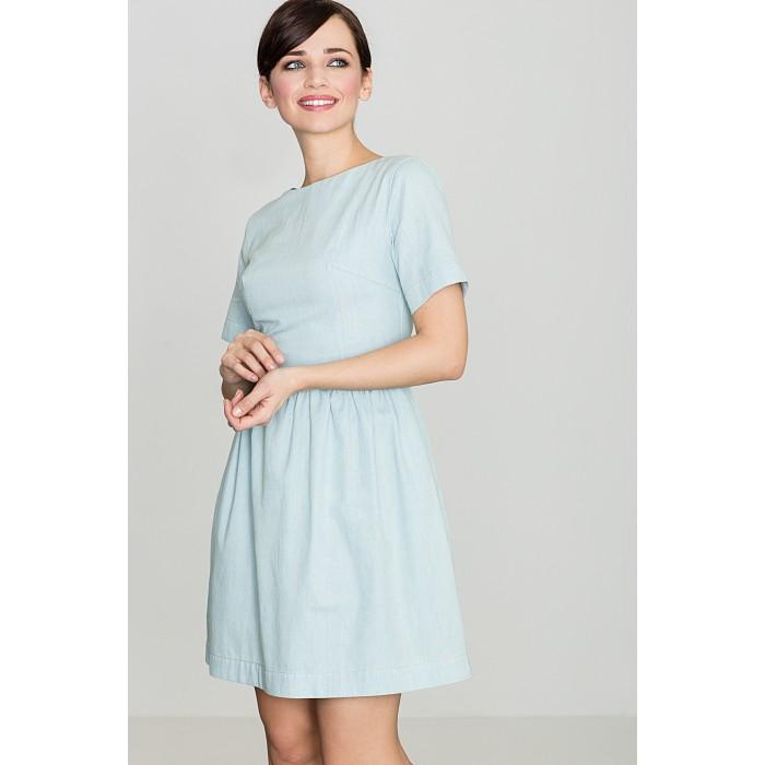 174c0bd8ae99 Dámske svetlomodré riflové šaty s krátkym rukávom K164