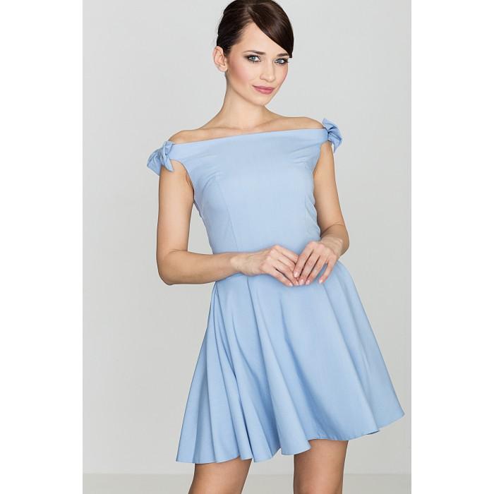 a6de14551965 Dámske svetlomodré šaty s mašličkami - K170