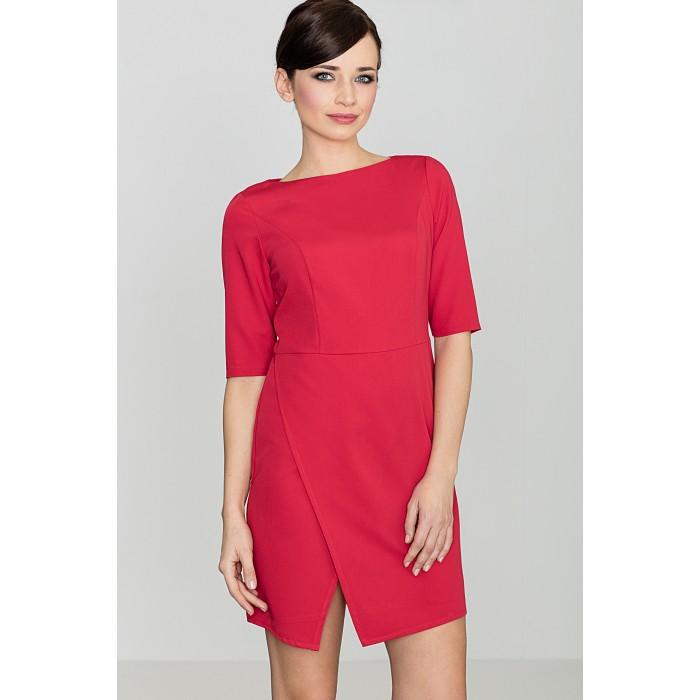 Dámske červené šaty s rázporkom - K200 dd4e5279b34