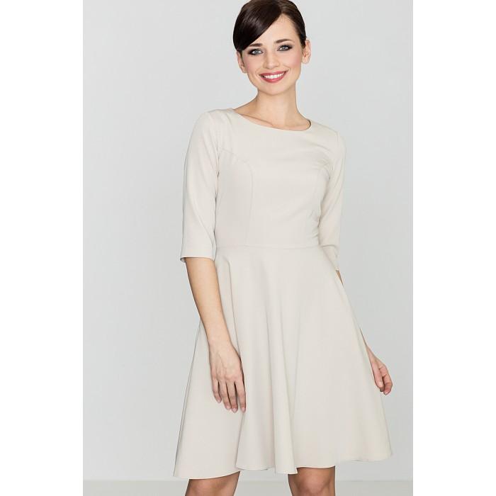 966c4bf4f1ba Dámske krémové áčkové šaty K219