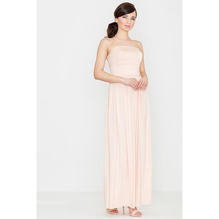 Letné maxi šaty bez ramienok - powder K252 9dbe023d977