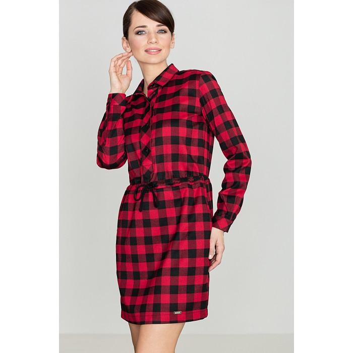 53726075401a Dámske kockované čierno-červené košeľové šaty s opaskom K256