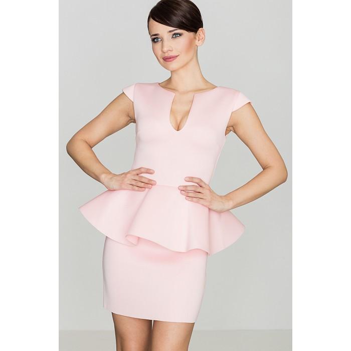 f499a067c7b4 Dámske ružové elegantné penové šaty s volánom K273