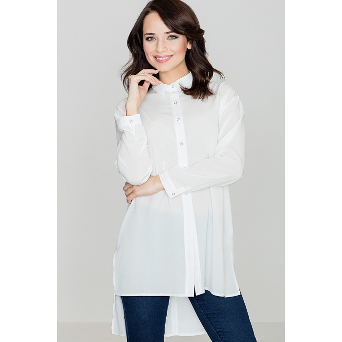 7ed4bd9005d6 Dámska biela predĺžená košeľa - K293