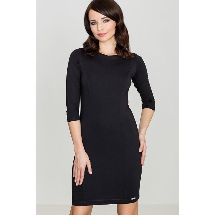 1a839c242c4f Dámske čierne púzdrové šaty s 3 4 rukávom K317