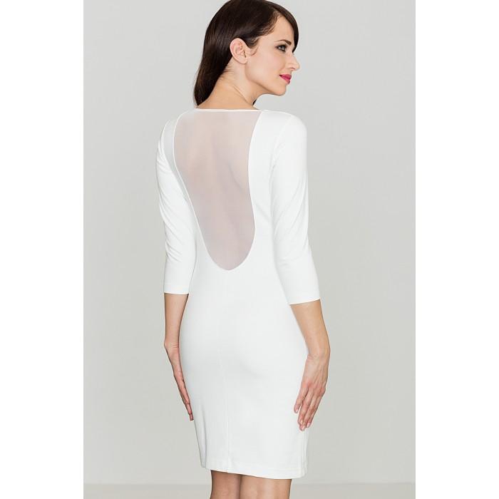 098428102502 Dámske biele púzdrové šaty s 3 4 rukávom K317