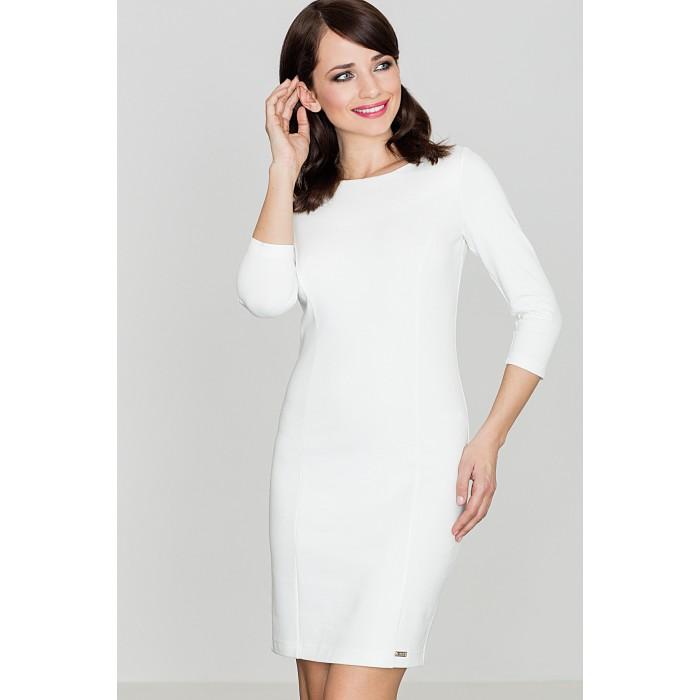 c14b68fd51a8 Dámske biele púzdrové šaty s 3 4 rukávom K317