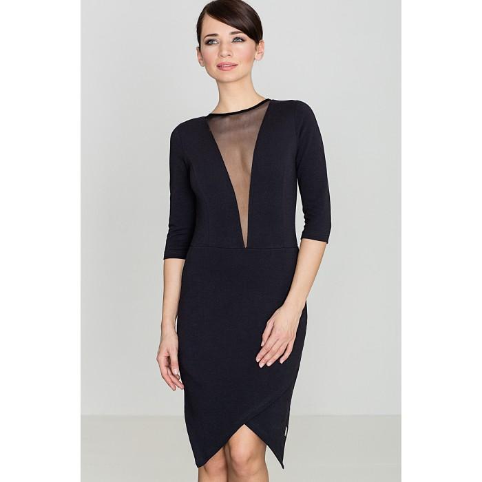 a251d2040e12 Dámske čierne asymetrické úpletové šaty so sieťkou na dekolte K320