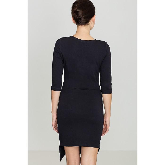 bf1d2d4ba0e2 Dámske čierne asymetrické úpletové šaty so sieťkou na dekolte K320