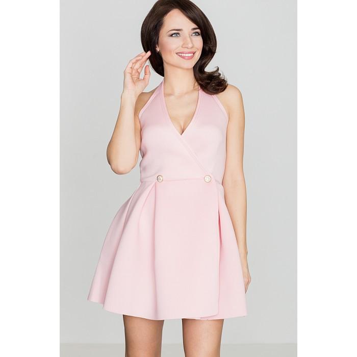 2e958bae3b8a Dámske ružové minišaty s riasenou sukňou - K386