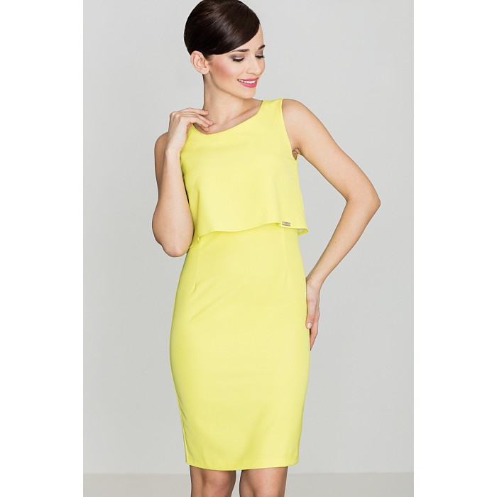 6a7223df7eb4 Dámske púzdrové žlté šaty bez rukávov - K388