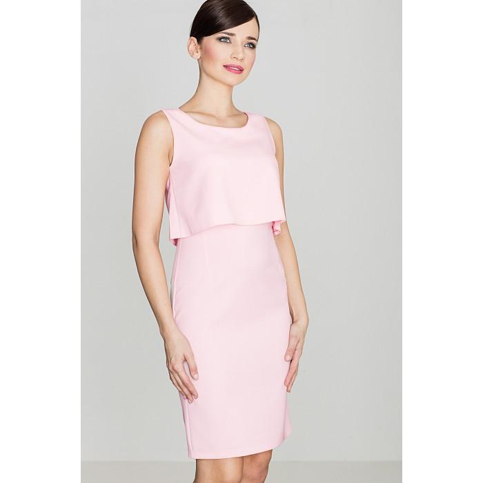 65d6225220d6 Dámske púzdrové ružové šaty bez rukávov - K388 S