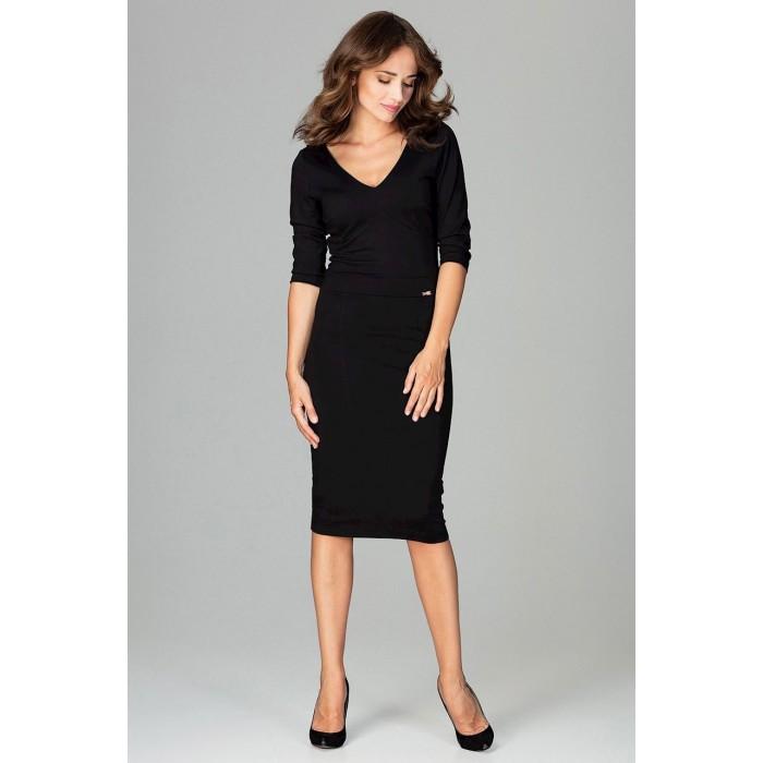 Čierne biznis midi šaty s