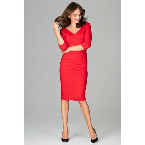 """Červené biznis midi šaty s """"V"""" výstrihom  K476"""