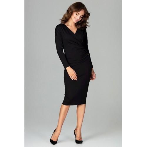 Čierne biznis šaty s prekladaným dekoltom K477