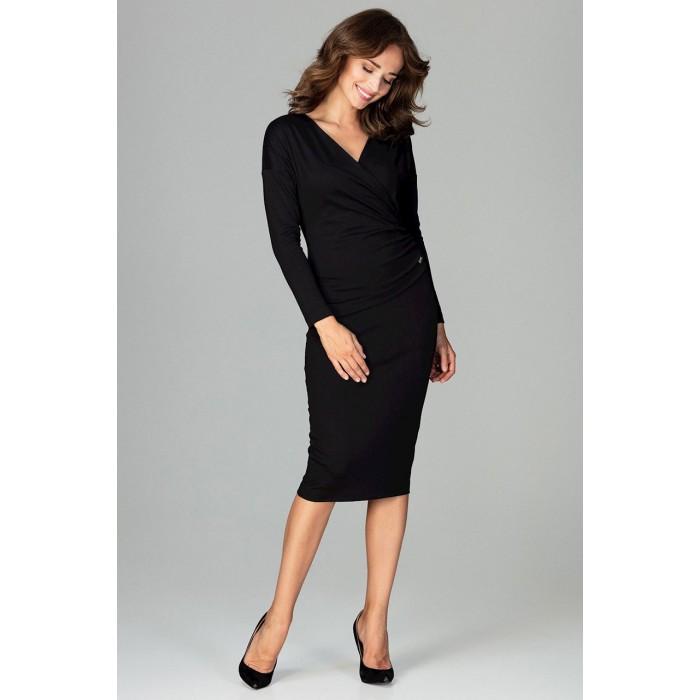 Čierne biznis šaty s prekladaným dekoltom K477 c0f1034649b
