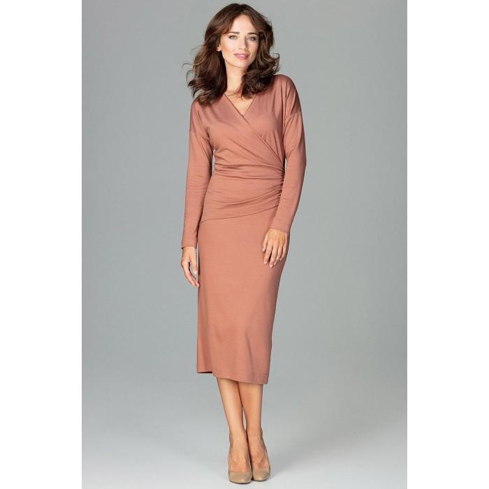 849942394570 Hnedé biznis šaty s prekladaným dekoltom K477