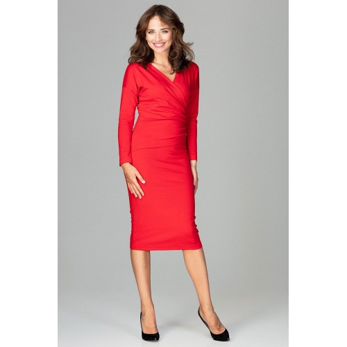 Červené biznis šaty s prekladaným dekoltom K477