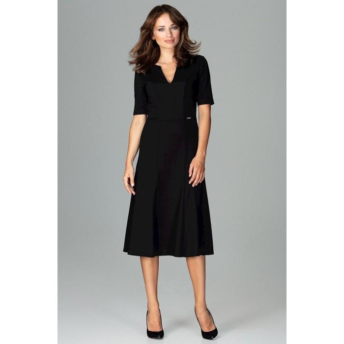 Čierne biznis midi šaty v Alínii K478 a20ee2815e9