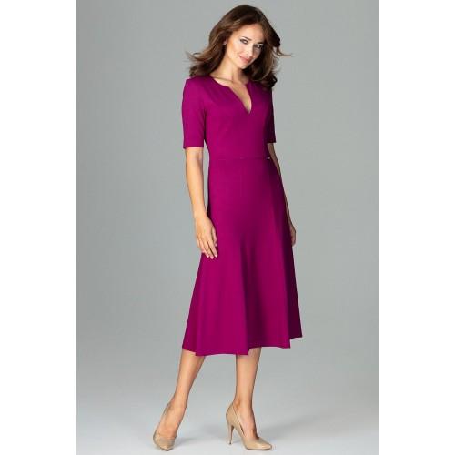 8e835616b6f2 Fuchsiové biznis midi šaty v Alínii K478