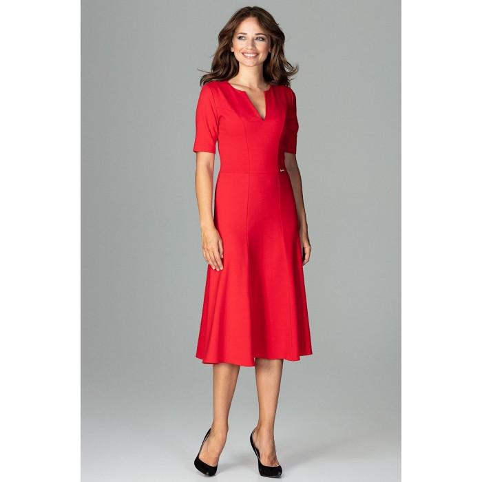 6d16440e70de Červené biznis midi šaty v Alínii K478