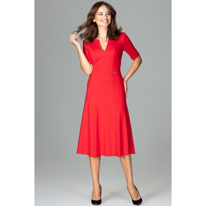 f7e07fe8e259 Červené biznis midi šaty v Alínii K478