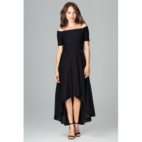 Čierne elegantné spoločenské asymetrické MAXI šaty K485