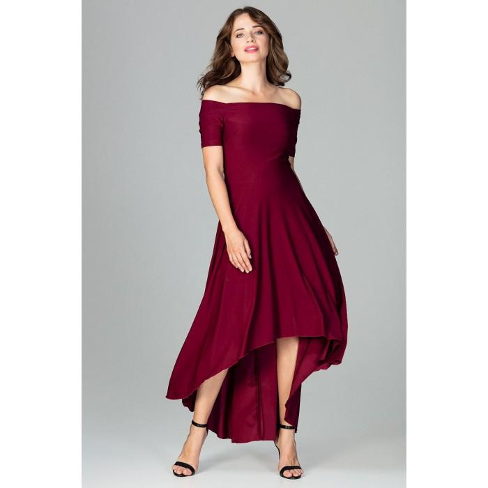 7e9061c626f3 Bordové elegantné spoločenské asymetrické MAXI šaty K485