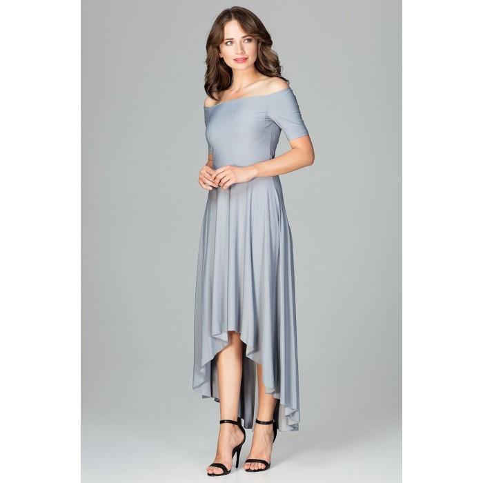 8ed91de5cf50 Šedé elegantné spoločenské asymetrické MAXI šaty K485