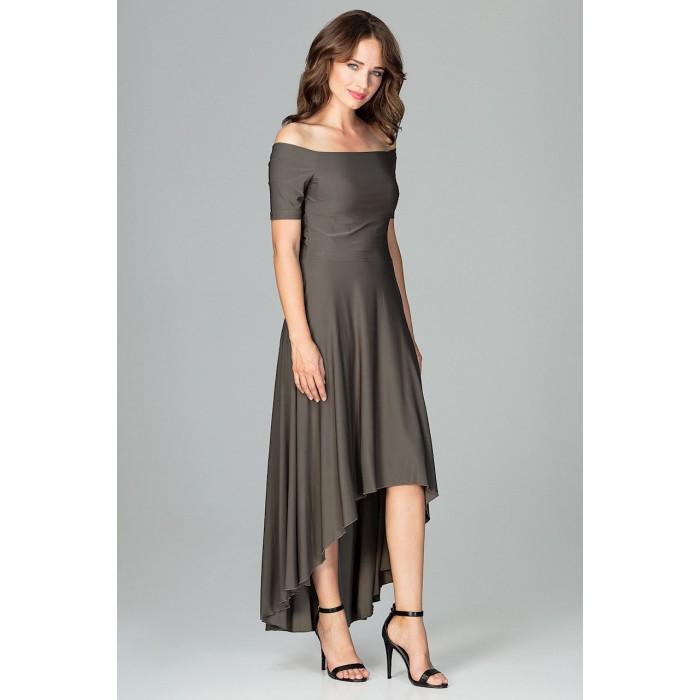a5e5cc788115 Olivovozelené elegantné spoločenské asymetrické MAXI šaty K485