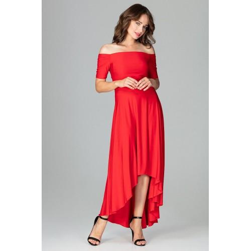 Červené elegantné spoločenské asymetrické MAXI šaty K485