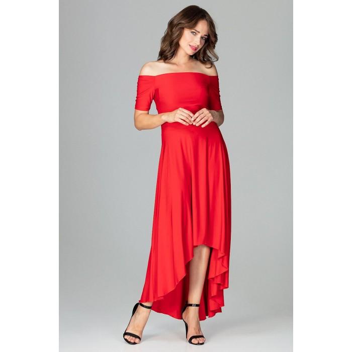 65ef2e47518e Červené elegantné spoločenské asymetrické MAXI šaty K485