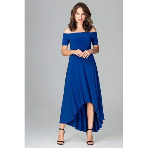 Kráľovsky modré elegantné spoločenské asymetrické MAXI šaty K485