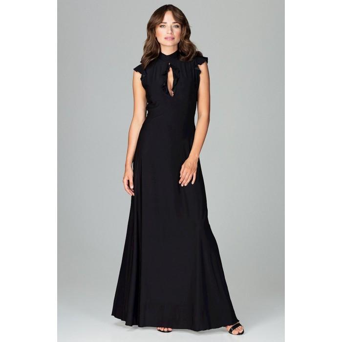Čierne spoločenské MAXI šaty so slzovým výstrihom K486 145c89306ea