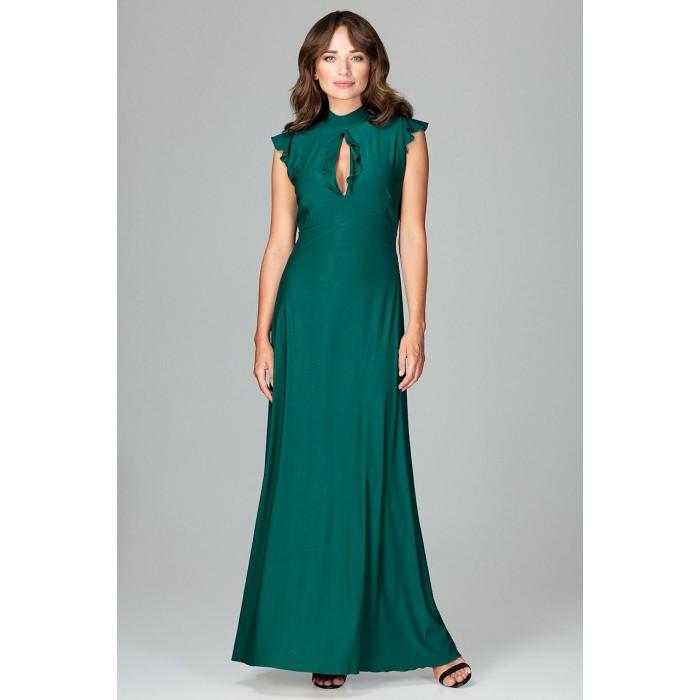 11b12c046d1b Zelené spoločenské MAXI šaty so slzovým výstrihom K486