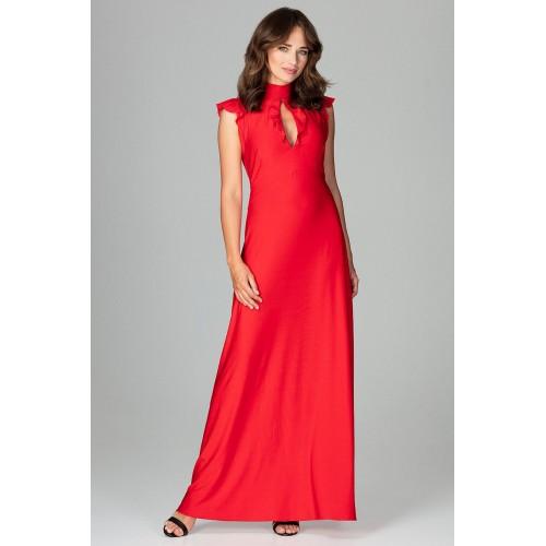 Červené elegantné spoločenské MAXI šaty so slzovým výstrihom K486