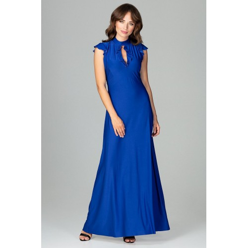Modré elegantné spoločenské MAXI šaty so slzovým výstrihom K486