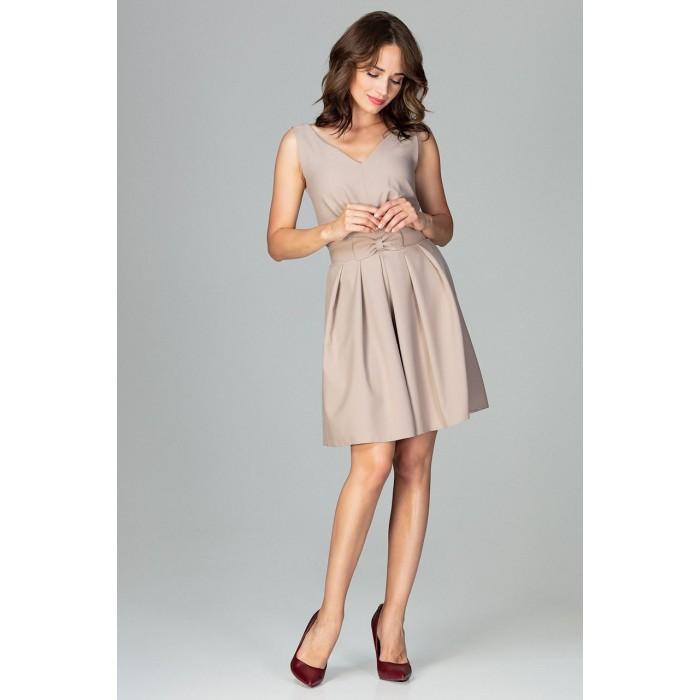 3289e30fcb3a Béžové elegantné spoločenské šaty v Alínii s mašičkou K487