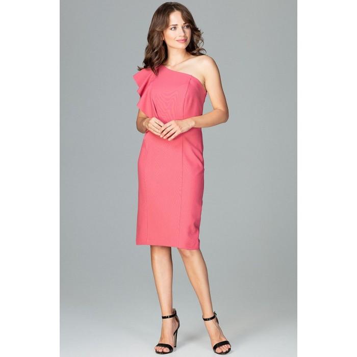 Koralové elegantné spoločenské šaty s volánom na jedno rameno K488 16cbef032f5