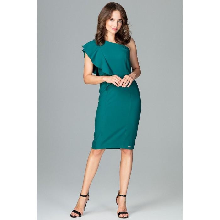 c013fd7396c5 Smaragdovo zelené elegantné spoločenské šaty s volánom na jedno rameno K488