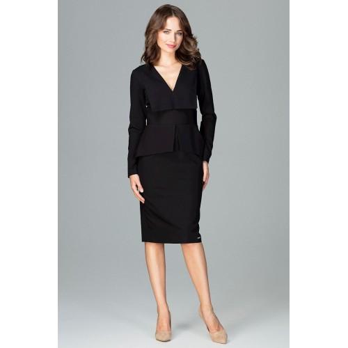 Čierne dámske šaty s golierom a dlhým rukávom K491