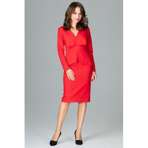 Červené dámske šaty s golierom a dlhým rukávom K491
