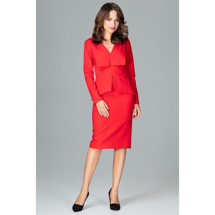 527482c6c214 Červené dámske šaty s golierom a dlhým rukávom K491