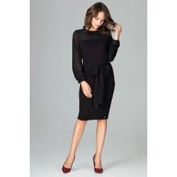 Čierne elegantné púzdrové šaty so šifónom a viazaním K494