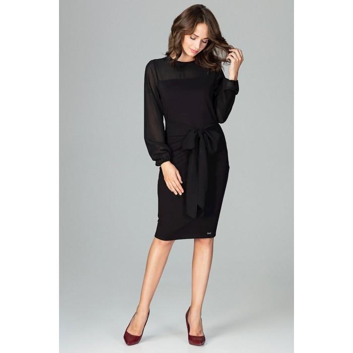 f856937961c5 Čierne elegantné púzdrové šaty so šifónom a viazaním K494