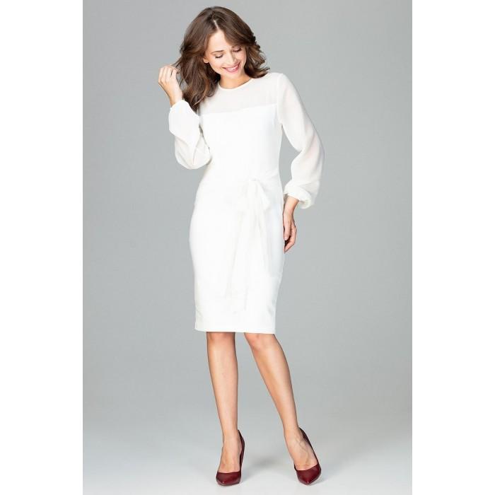 60a5d5d5cd02 Smotanovobiele elegantné púzdrové šaty so šifónom a viazaním K494