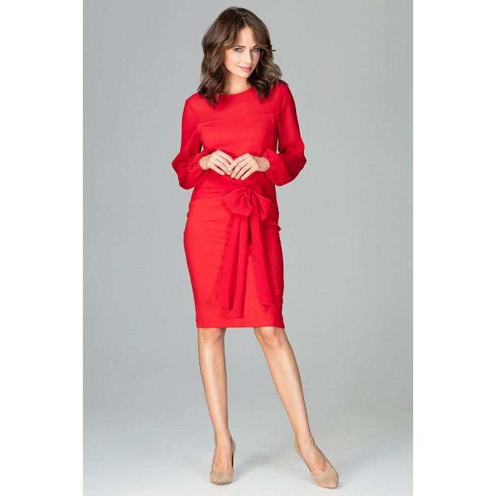 6bb482bd8868 Červené elegantné púzdrové šaty so šifónom a viazaním K494